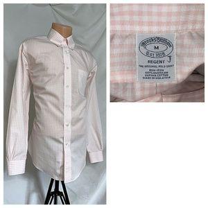 Brooks Brothers Medium Pink Plaid Dress Shirt